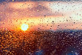 Water Drops On A Window Glass After The Rain. The Sky With Clouds.. Stock  Photo, Picture And Royalty Free Image. Image 40088207.