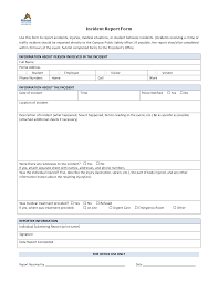 Blank Incident Report Form Templates At