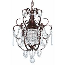 chandeliers and pendant lighting. Crystal Mini-Chandelier Pendant Light In Bronze Finish Chandeliers And Lighting