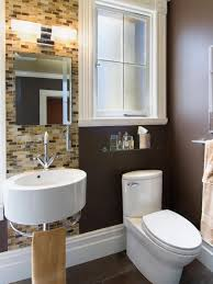... Colors Dark Bathroom, Round Sink With Mini Faucets Also Tiny Bathroom  Mirror Decoration With Dark Brown Wall ...