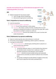 describe and evaluate the behavioural approach to the explaining  page 1