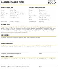 Subcontractor Bid Form Template Free Construction Time And Material
