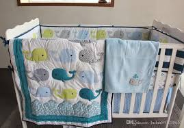 muslin bear whale embroider cotton baby bedding set cotton 5 items baby quilt per bed skirt mattress cover baby blanket luxury kids bedding kids