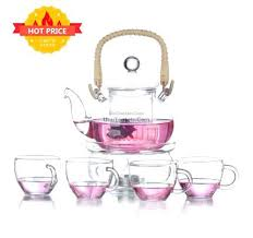 glass tea set bamboo weaving handle glass tea set glass tea set with teapot warmer