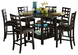 homelegance glendine counter height table w lazy susan in dark espresso indoor pub and bistro tables by beyond s