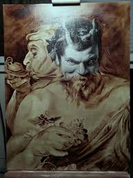 i love the painting two satyrs by peter paul rubens so much that i decided to try to paint it here s where i m at so far