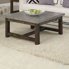 Coffee Table, Beautiful Dark Brown And Grey Square Wood Cement Coffee Table  With Marble Top