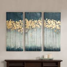 Madison Park Midnight Forest Gel Coat Canvas with Gold Foil Embellishment  3-piece Set (