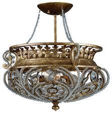 quoizel 3 light la crystal semi flush mount in gold finch