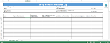 Free Equipment Maintenance Log Excel Template Templates At