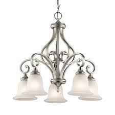 kichler monroe 27 in 5 light brushed nickel vintage etched glass shaded chandelier 43158ni
