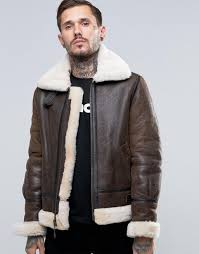 schott shearling flight jacket brown men