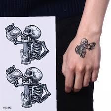 Us 061 16 Offunisex Waterproof Tattoo Sticker Fashion Death Skull Temporary Tattoo Body Arm Leg Men Women Fake Flash Tatoo Sticker Sleeves In