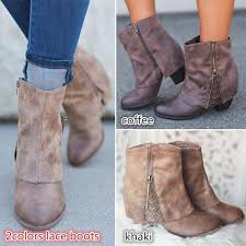 2018 warm winter y women fold over lace booties comfortable leather boots shoes