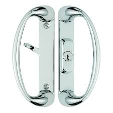 cambridge sliding door handle with center position keylock in chrome finish f