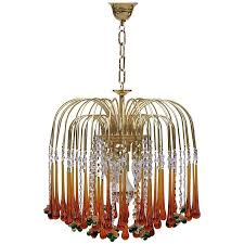 1970s murano teardrop and fruit crystal chandelier for