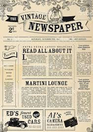 1960s Newspaper Template Vector Illustration Of A Front Page Of An Old Newspaper Use