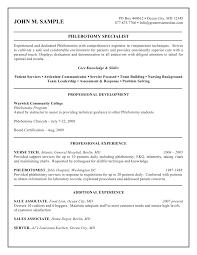 Phlebotomy Resume Examples Free Resume Templates 2018