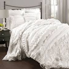 white queen quilt set. Brilliant Queen Image Is Loading CHICRUFFLESWHITEQueenCOMFORTERSETCOUNTRYCOTTAGE With White Queen Quilt Set I