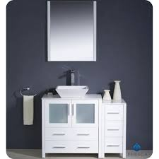 fresca torino 42 white modern bathroom vanity vessel sink with faucet and linen side cabinet option