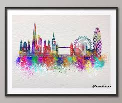 diy original watercolor london skyline canvas painting wall art poster print pictures living room home decoration