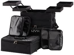 nyx makeup artist train case 3 tier stackable black white amazon in beauty