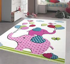 elephant rug nursery rugs kids bedroom play room uni carpet mat white pink