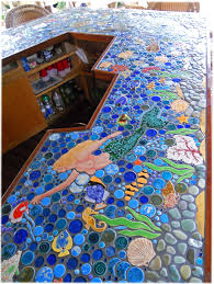 ceramic tile tropical bar top