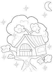 Small Picture Tree House Coloring Page Stock Illustration Image 50165911