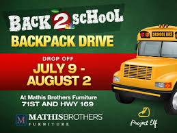 mathis brothers furniture tulsa ok. Modren Mathis 2 Works For You Hosts Backpack Drive At Mathis Brothers Furniture Tulsaarea  Schools  KJRHcom In Tulsa Ok