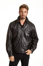 mens collared leather jacket black brown