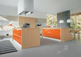 Orange Kitchens Captivating Orange Kitchen Island With Wooden Cabinets Furnished
