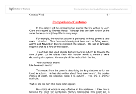 autumn poems comparison essay gcse english marked by teachers com document image preview