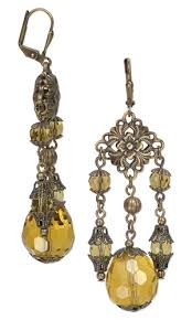 earrings with celestial crystal beads antiqued gold plated steel links and antiqued gold