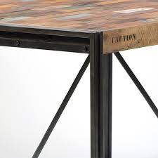 Table Industrielle FACTORY en fer et bois de bateau recyclé pas chère
