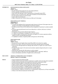 Field Specialist Sample Resume Field Specialist Resume Samples Velvet Jobs 1