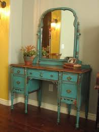 vintage vanity desk design with distressed light blue color