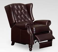 tufted wing back recliner in vintage cranberry leather for awesome contemporary recliner chair
