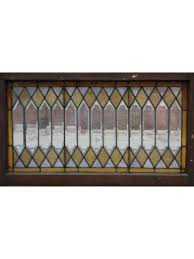 antique stained w bevel glass picket fence pattern residential transom window