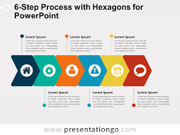 Step Chart In Powerpoint 6 Step Process With Hexagons For Powerpoint Presentationgo