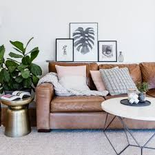 scandinavian leather furniture. Melbourne Modern Leather Sofa Family Room Scandinavian With Beige Rug Nailhead Trim Coffee And Side Tables Furniture