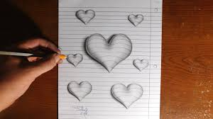 very easy 3d paintings on paper simple pencil drawings of heart 3d stepstep how to draw