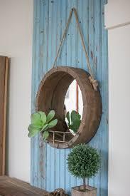 wood mirror frame ideas. Kalalou Hanging Round Wooden Mirror With Rope Hanger Metal Shelf Wood Frame Ideas P