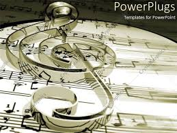 Treble Clef Music Sheet Powerpoint Template Treble Clef On Music Sheets And Notes In Black