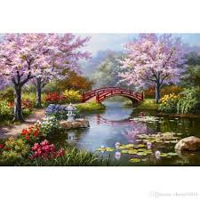 2018 modern landscapes art anese garden in bloom by sung kim oil painting canvas high quality hand painted from cherry02016 125 63 dhgate com