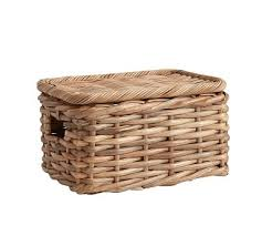 woven basket with lid. Aubrey Woven Lidded Baskets, Small - Natural Basket With Lid C