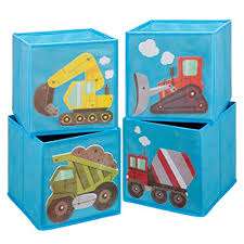 ava kings foldable fabric storage cube container bins shelf drawers kids light blue