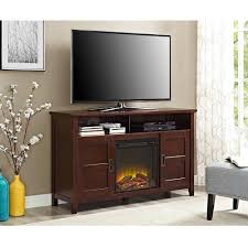 walker edison furniture company 52 in electric fireplace tv stand in rustic chic coffee entertainment