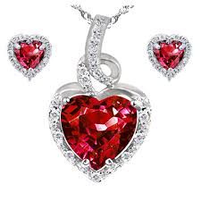 pws038cre22 sterling silver heart shaped created ruby pendant earring