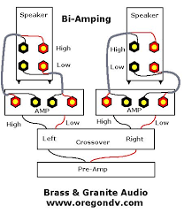 audio faq s how to bi wire and bi amp pictures the internal speaker crossover network must be eliminated bi amping is a difficult and expensive approach that is not typically employed